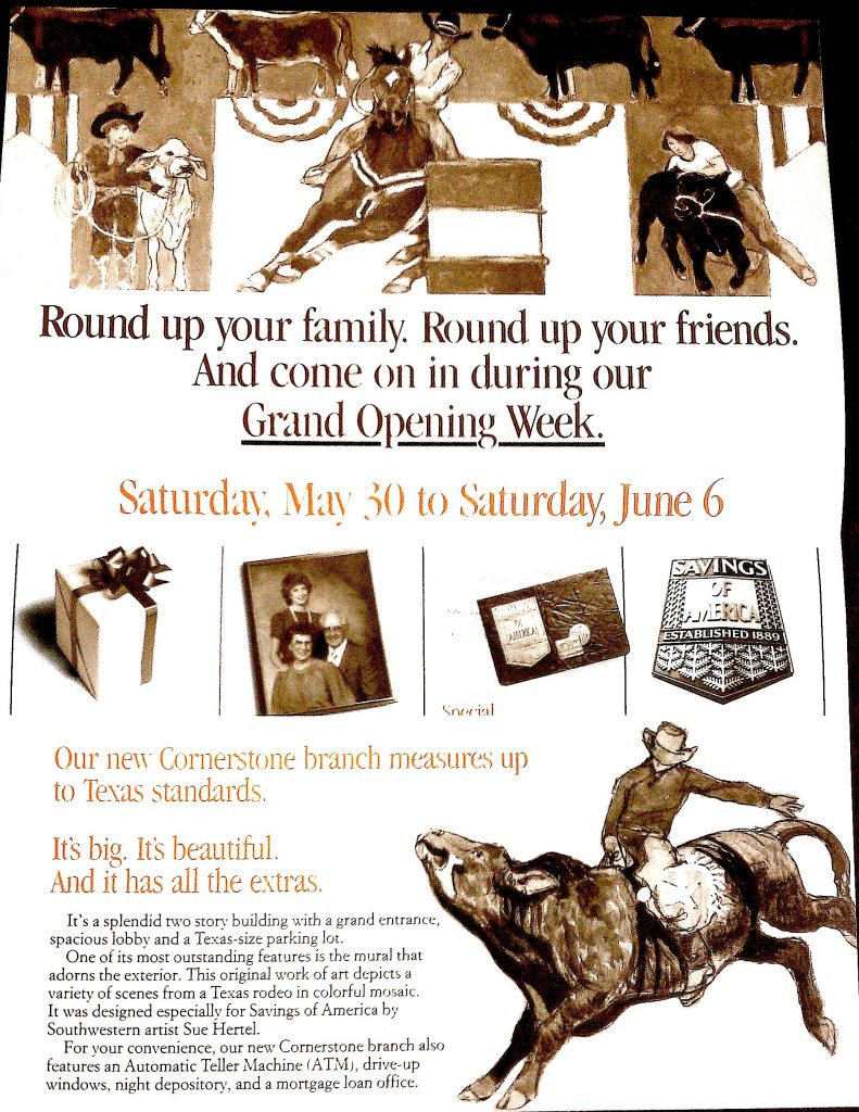 Mailer for the opening of the Cornerstone branch, Houston, Texas, 1987; Denis O'Connor Collection, Huntington Library