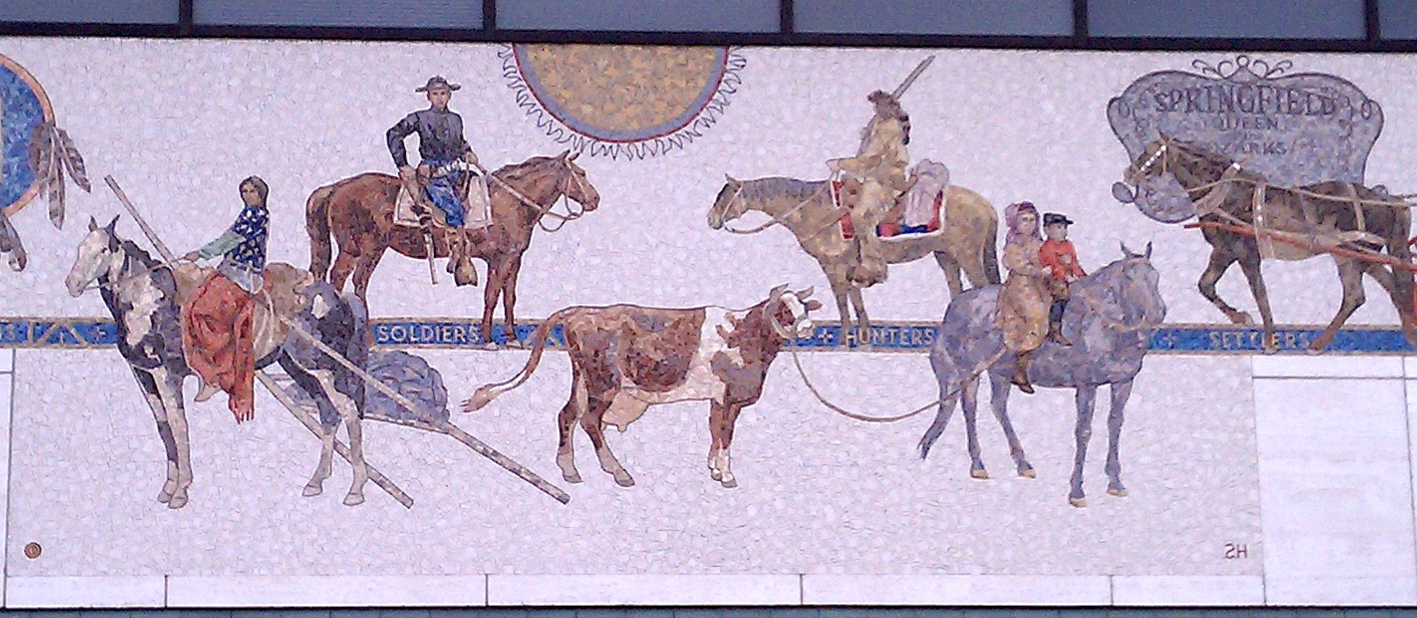 Denis O'Connor, Sue Hertel, and Studio MosaicArt di D.Colledani-Milan, mosaic, Savings of America, Springfield, Missouri, 1986. Note the goof at installation that reversed the SH of Sue's signature at bottom right.