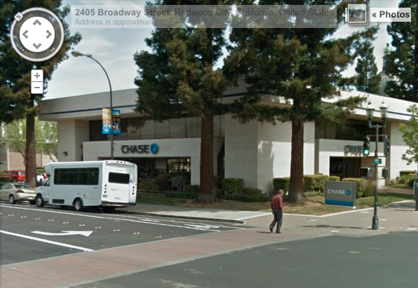 Redwood City Chase, 2300 Broadway, via Google StreetView