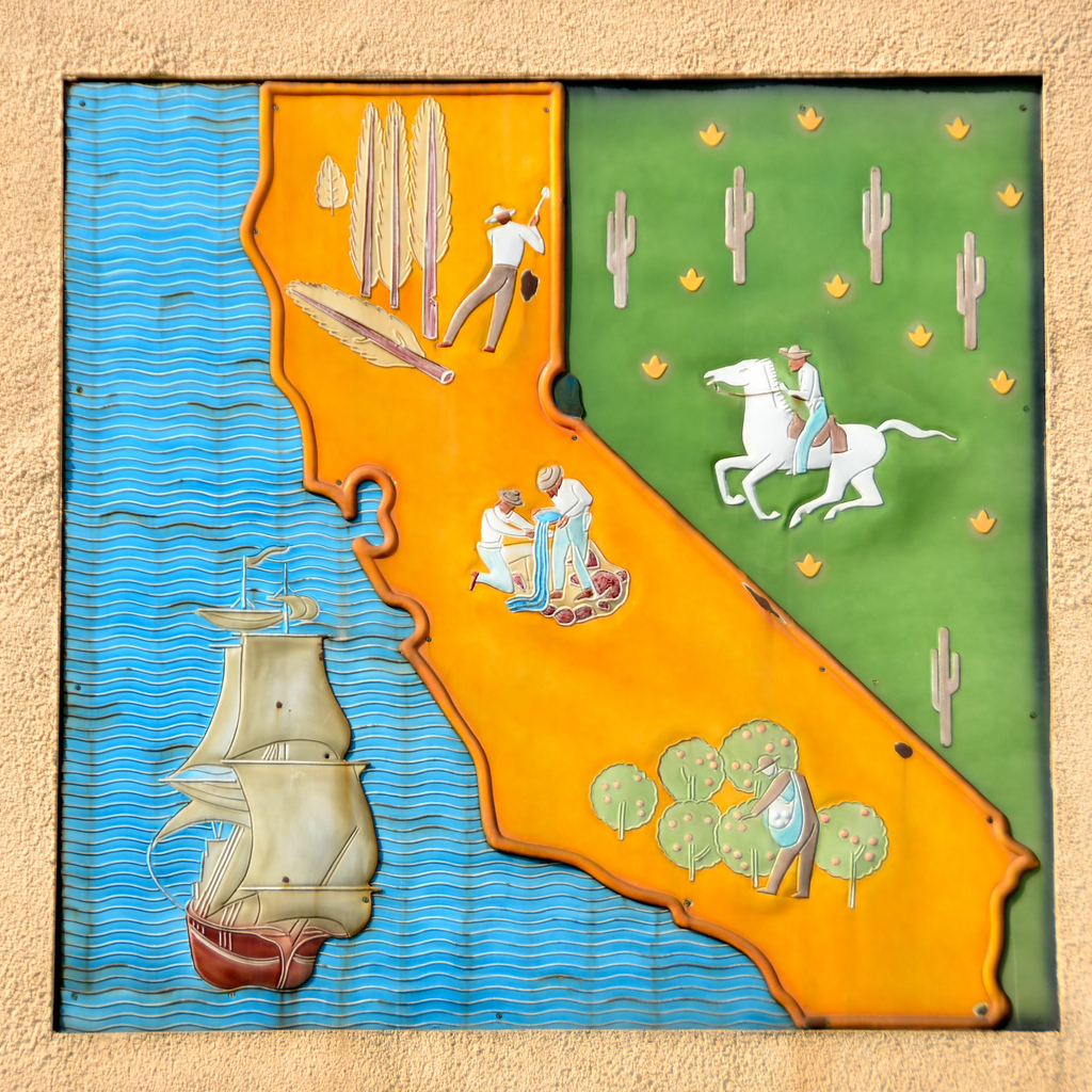 Millard Sheets, enamel panel of California (1 of 3), Mark Keppel High School, Alhambra, 1939. Photograph courtesy of Richard Yaussi