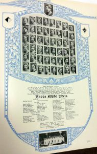 Kappa Alpha Theta Class of 1930, UCLA Archives. Mary Baskerville, the president of the sorority, is at top; Dorothy Grannis listed among the senior-class members.