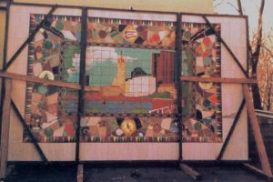 Marlo Bartels, Columbus mosaic ready for transport, 1992. Image courtesy Marlo Bartels.