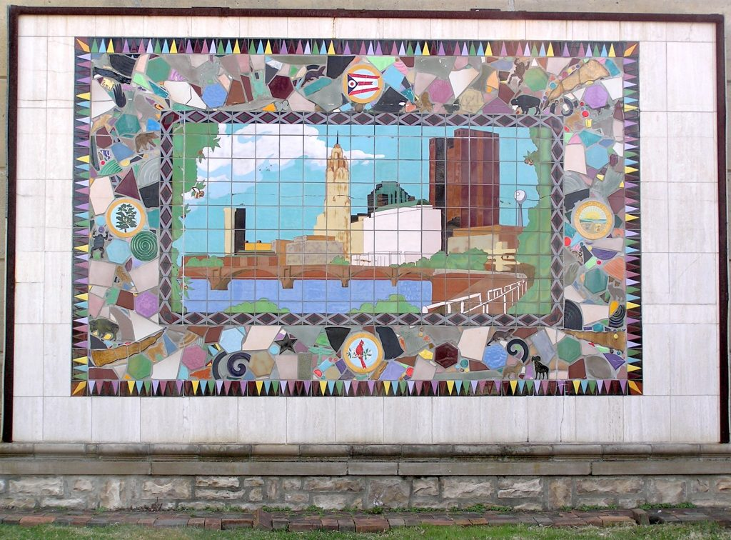 Marlo Bartels, ceramic tile mosaic for Columbus Ohio Home Savings, 1988; as photographed in Gail Paris Discovery Garden, Clinton Elementary School, by Terry Miller, courtesy Shirley Hyatt