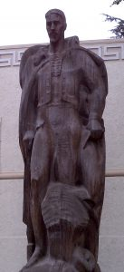 John Edward Svenson, The Ranchero sculpture in wood, Millard Sheets Center for the Arts, 1953 (photograph 2010)