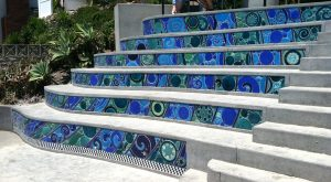 "Marlo Bartels, ""Third Reef,"" Brooks Street ceramic mural on stair risers, 2009-2010"
