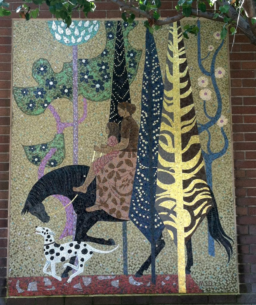 """Millard Sheets Designs,"" temporary mosaic panel, one of three, c. 1974, now in Irwindale"