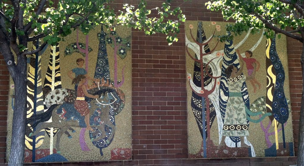 """Millard Sheets Designs,"" temporary mosaic panel, two of three shown, c. 1974, now in Irwindale"