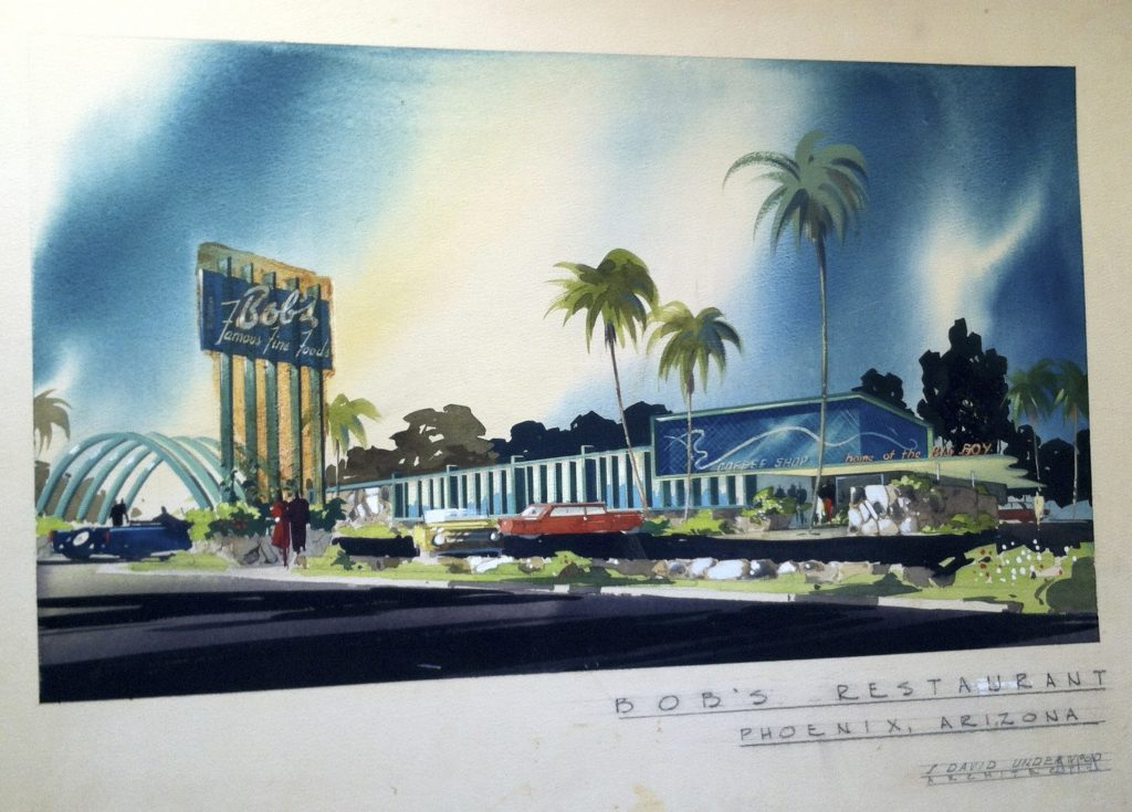 S. David Underwood, Sheets Studio, sketch for Bob's exterior, Phoenix. c. 1954 S. David Underwood Archive.