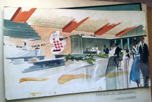 S. David Underwood, Sheets Studio, sketch for Bob's interior, Phoenix. c. 1954 S. David Underwood Archive.