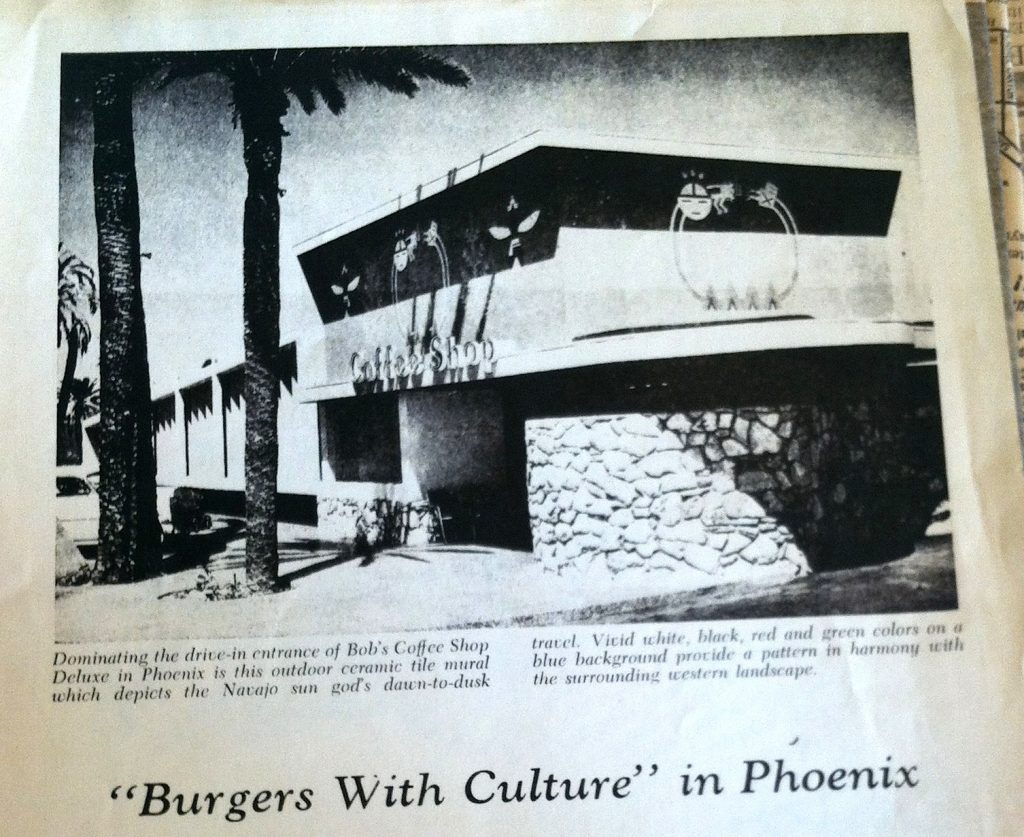 "Millard Sheets Studio, Native American themes in mosaic, Bob's restaurant, Phoenix, 1954. From ""Burgers with Culture,"" TILE Magazine, 1955. S. David Underwood Archive."