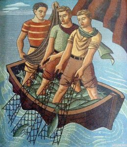 "Arthur Ames, ""Three Fisherman,"" WPA mosaic for Newport Harbor Union High School, 1937."