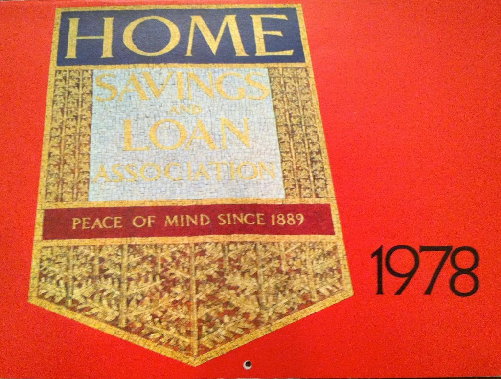 Sheets, Home Savings shield as mosaic, 1978 calendar, courtesy George Underwood