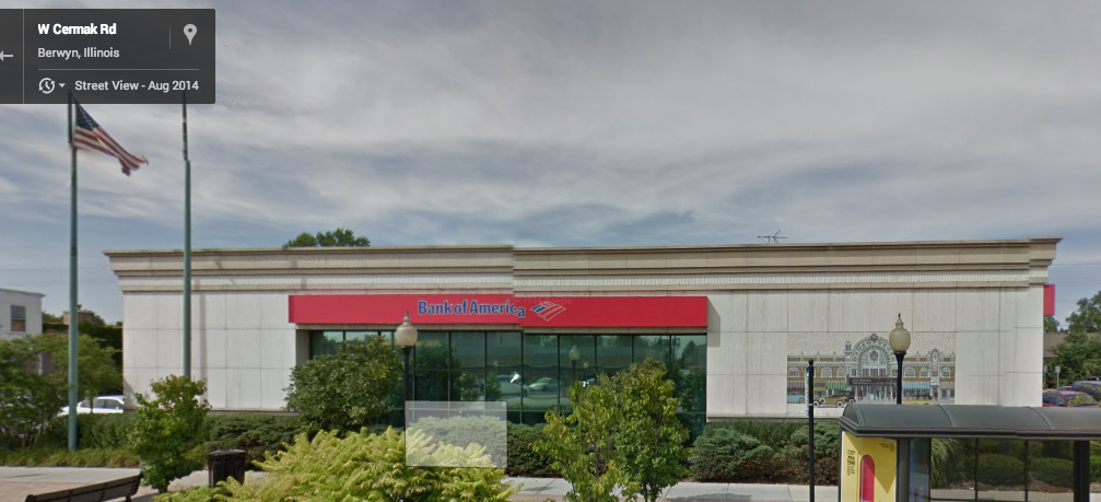 Bank of America, former Home Savings branch in Berwyn, Illinois. Image from Google StreetView; see below for details.