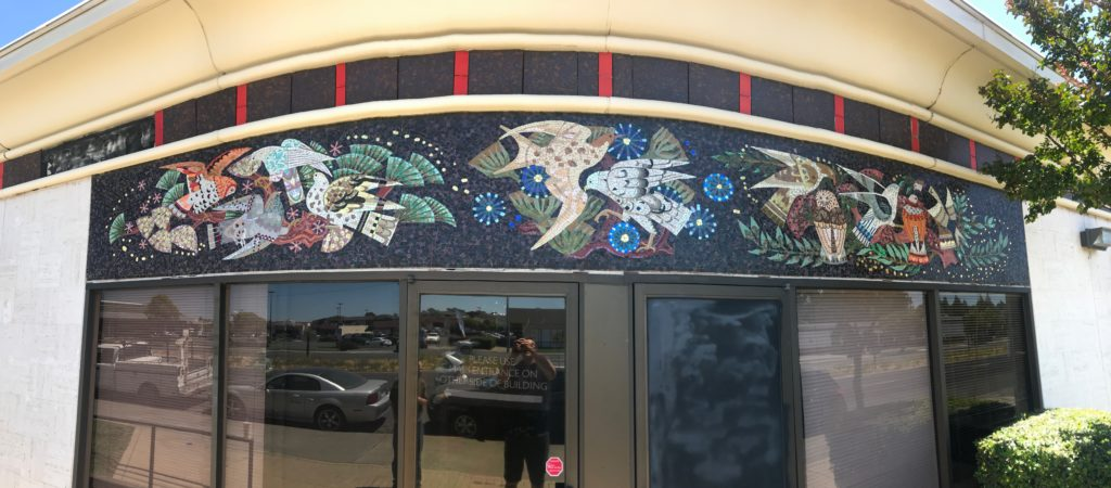 Ted Ellison, 2018 photograph of former Home Savings in Vallejo, artwork by Denis O'Connor and Studio.