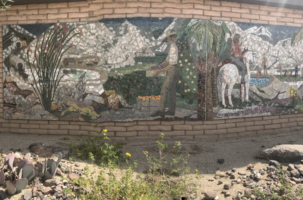 My photograph of a section of the mosaic by Nancy Colbath in Borrego Springs.