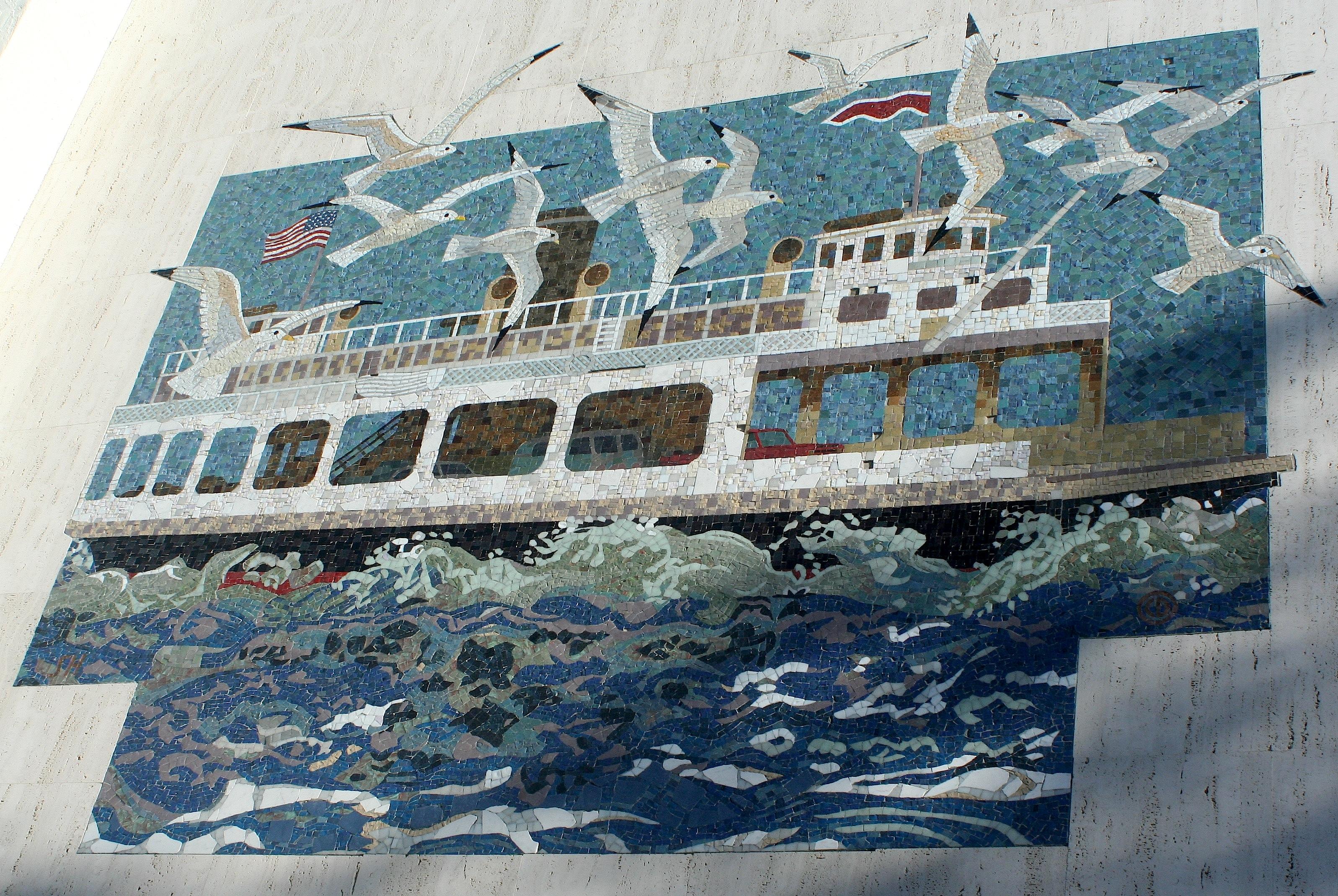 Susan Hertel and Denis O'Connor, ferry, Coronado, 1985
