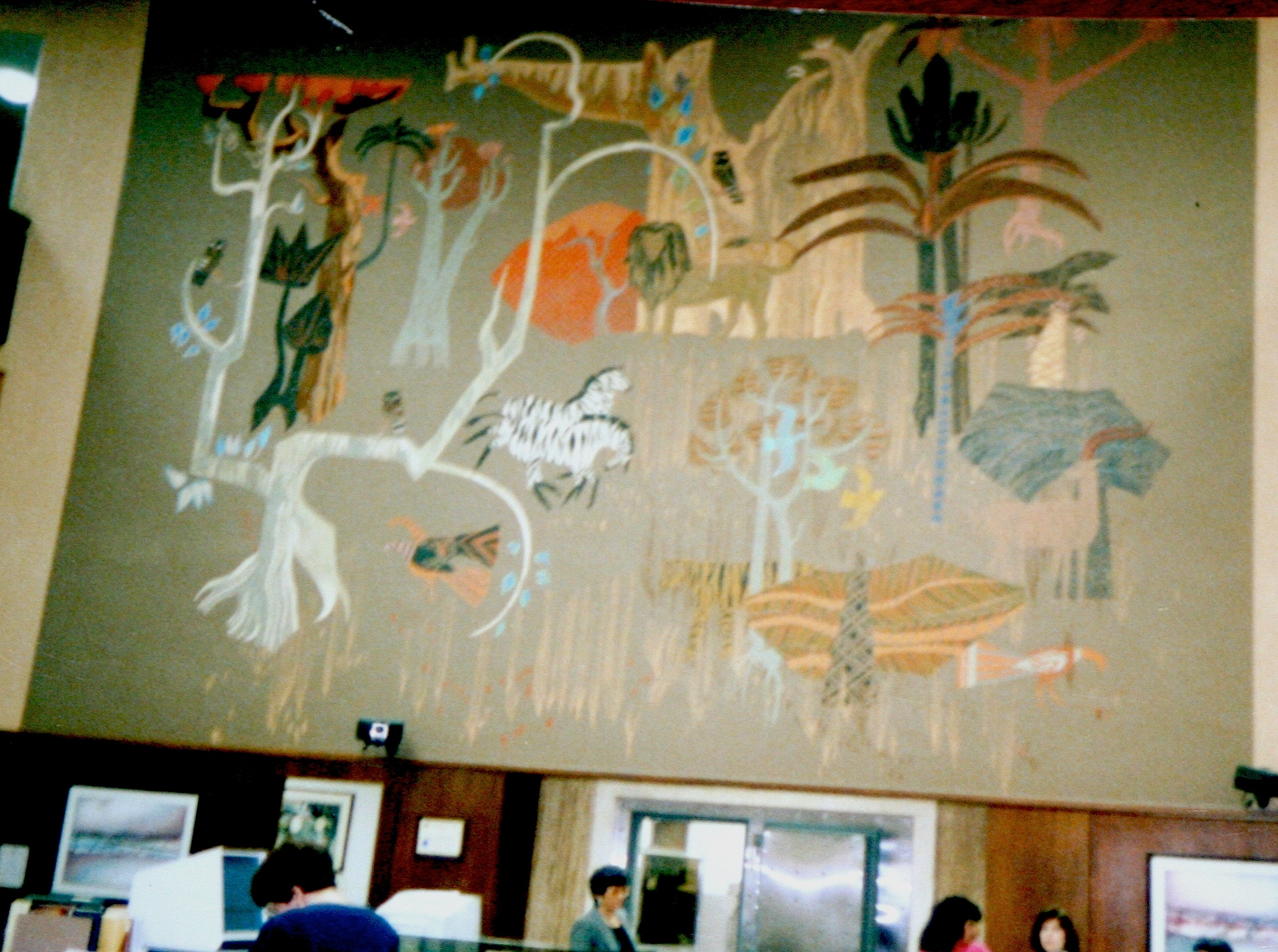 LA Zoo painting, Burbank branch, 1969. Photo courtesy of Carrie McCoy
