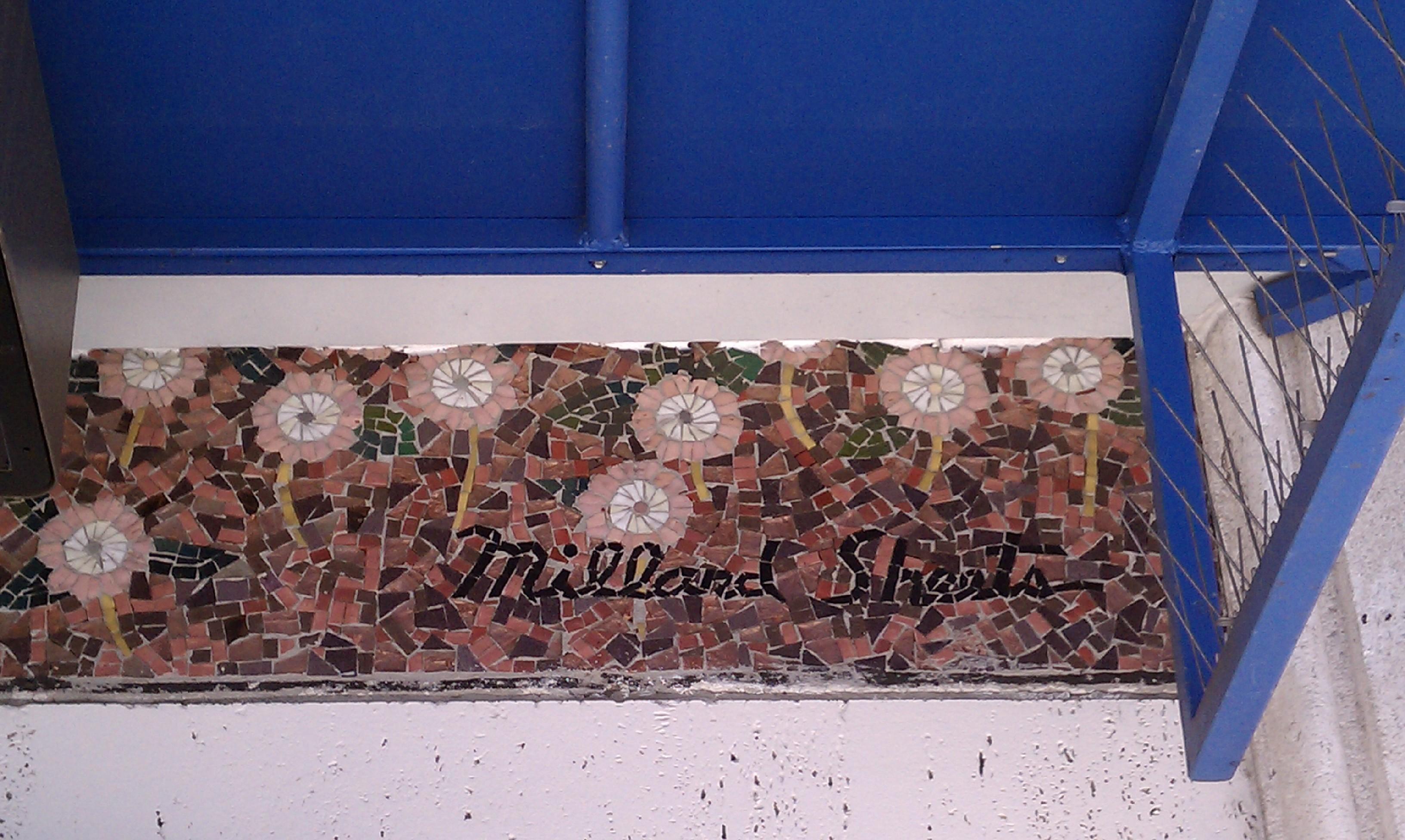 Awning sliced into Sheets Studio mosaic, cutting off signature, Highland Park