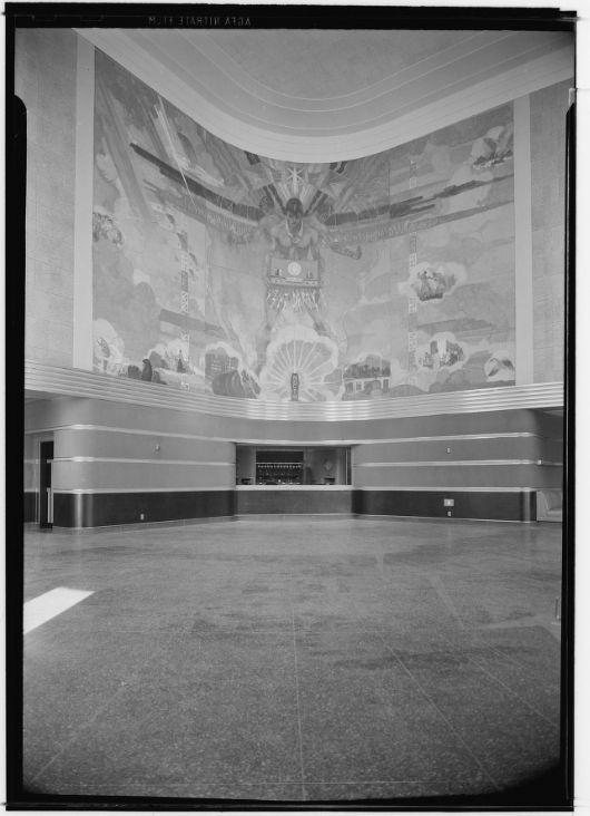 NBC Radio City studios, Sunset and Vine, 1939, lobby mural; demolished 1964