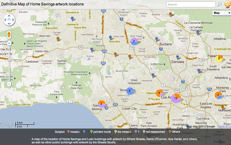 Map of Home Savings artwork locations and Sheets Studio art (please click below for interactive)