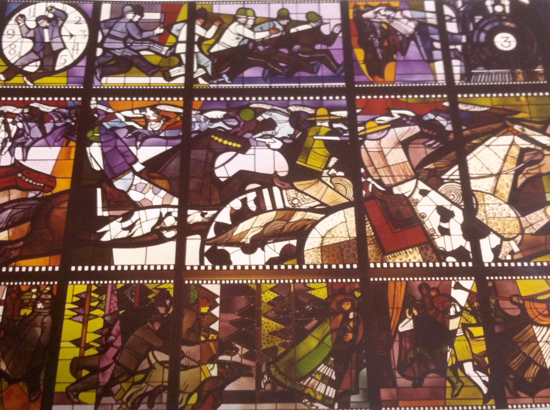 Sue Hertel and John Wallis and Associates, Hollywood branch stained glass at installation, 1968