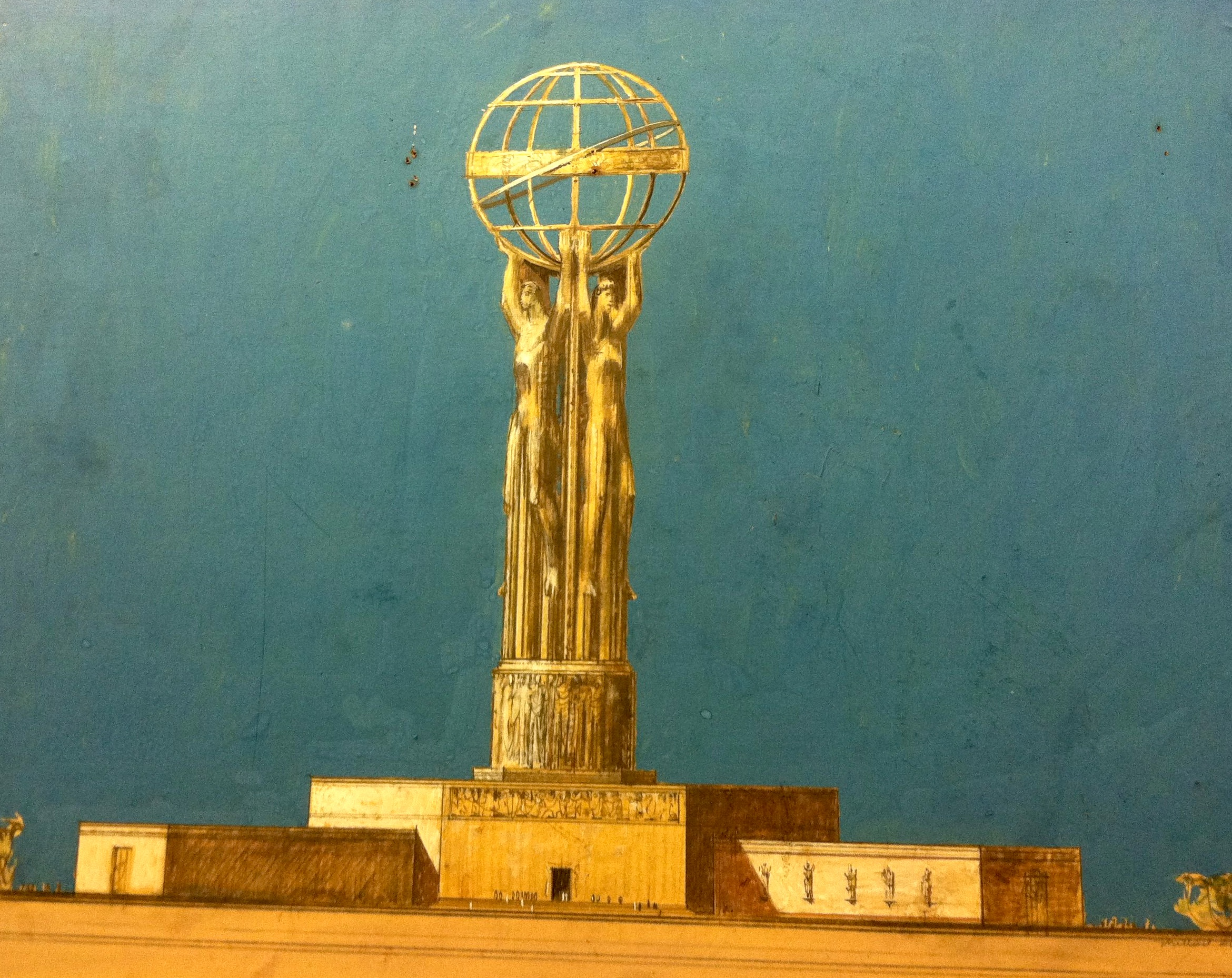 Millard Sheets, sketch of Monument to Democracy for San Pedro, 1954. Image courtesy of Alan Wofsy Fine Arts