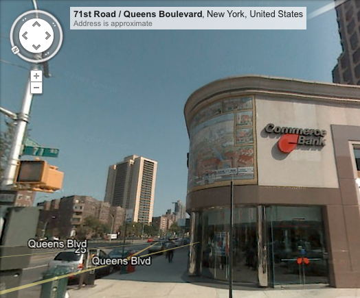 Forest Hills mosaic, Queens Boulevard, as of 2007 in Google StreetView