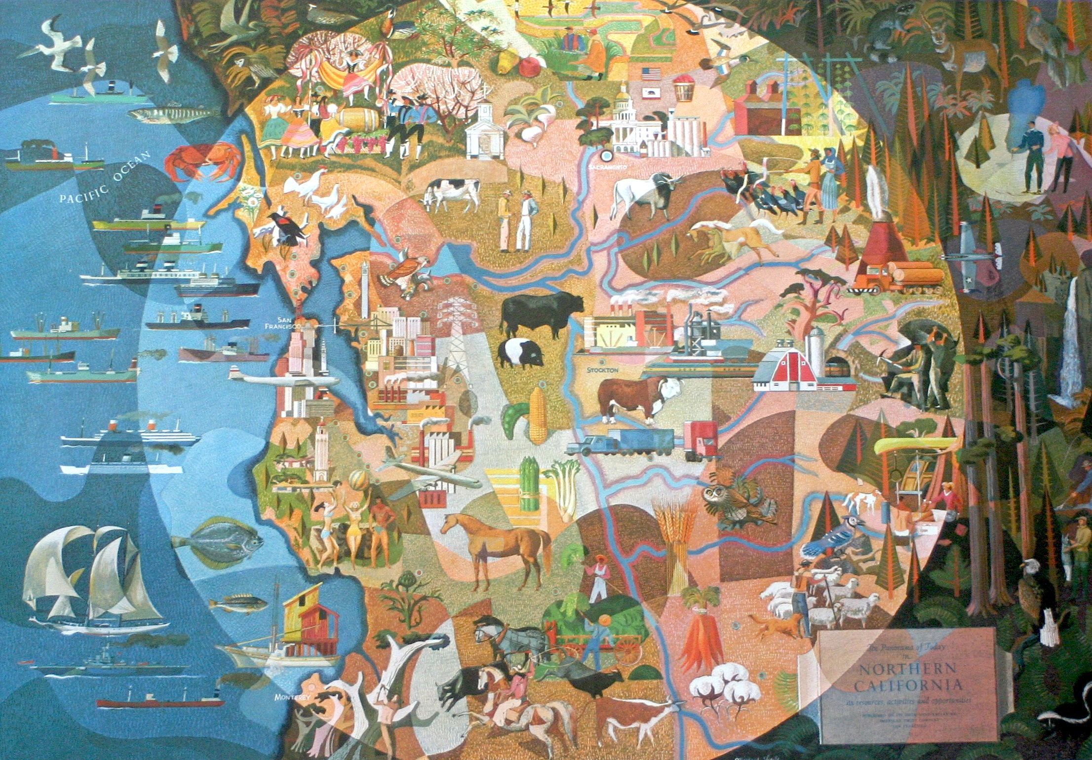 Millard Sheets, The Panorama of Today in Northern California, for American Trust Company of San Francisco, 1954