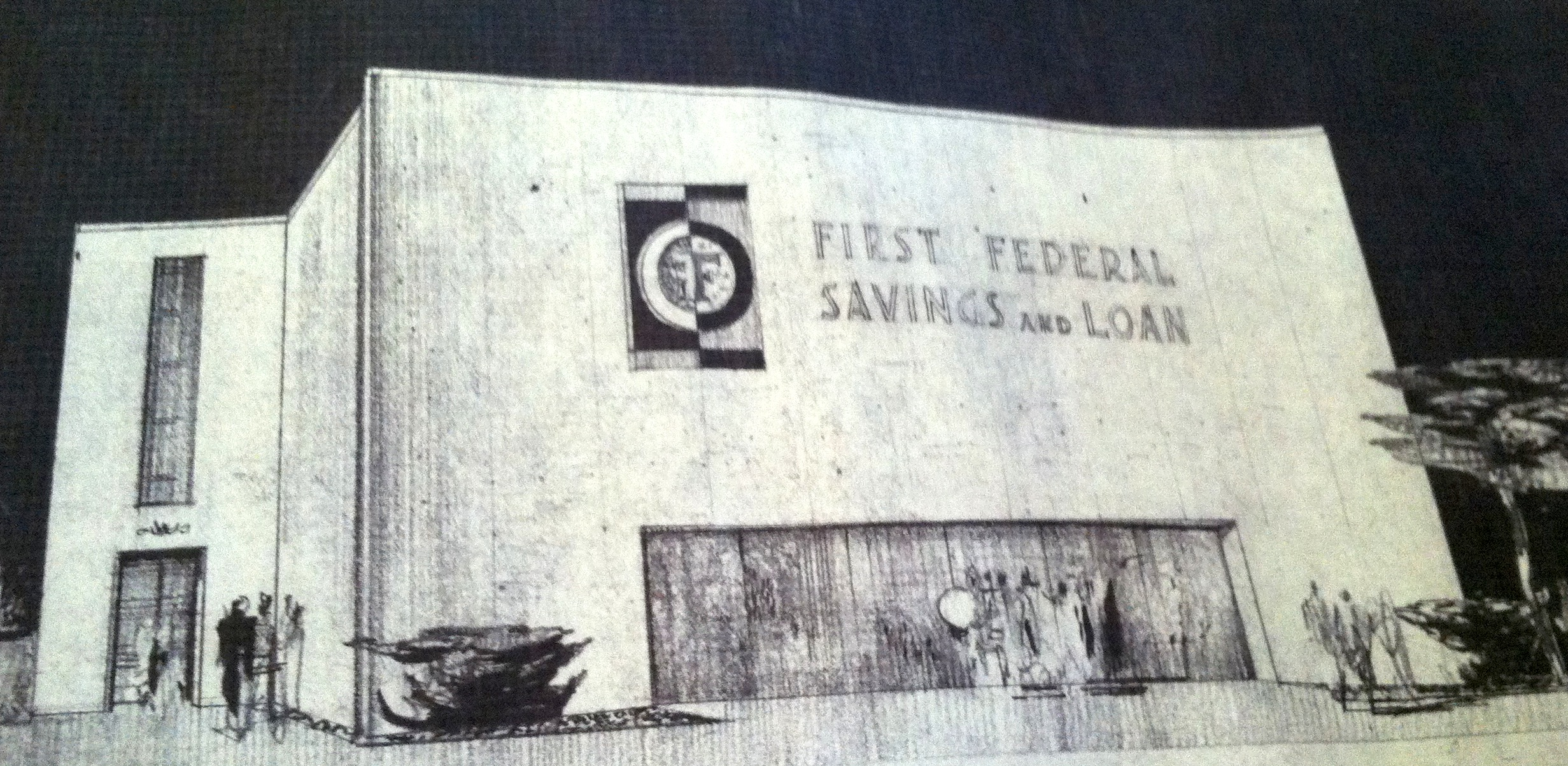 S. David Underwood, sketch for First Federal Savings and Loan, n.d., S. David Underwood Archive.