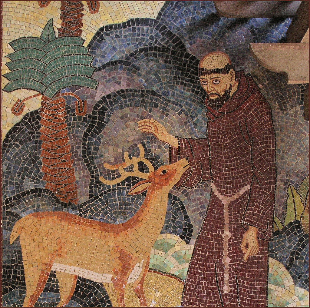 "Bruton Sisters, ""St. Francis"" mosaic, San Francisco Zoo, 1934. Image via Vicki & Chuck Rogers on Flickr."