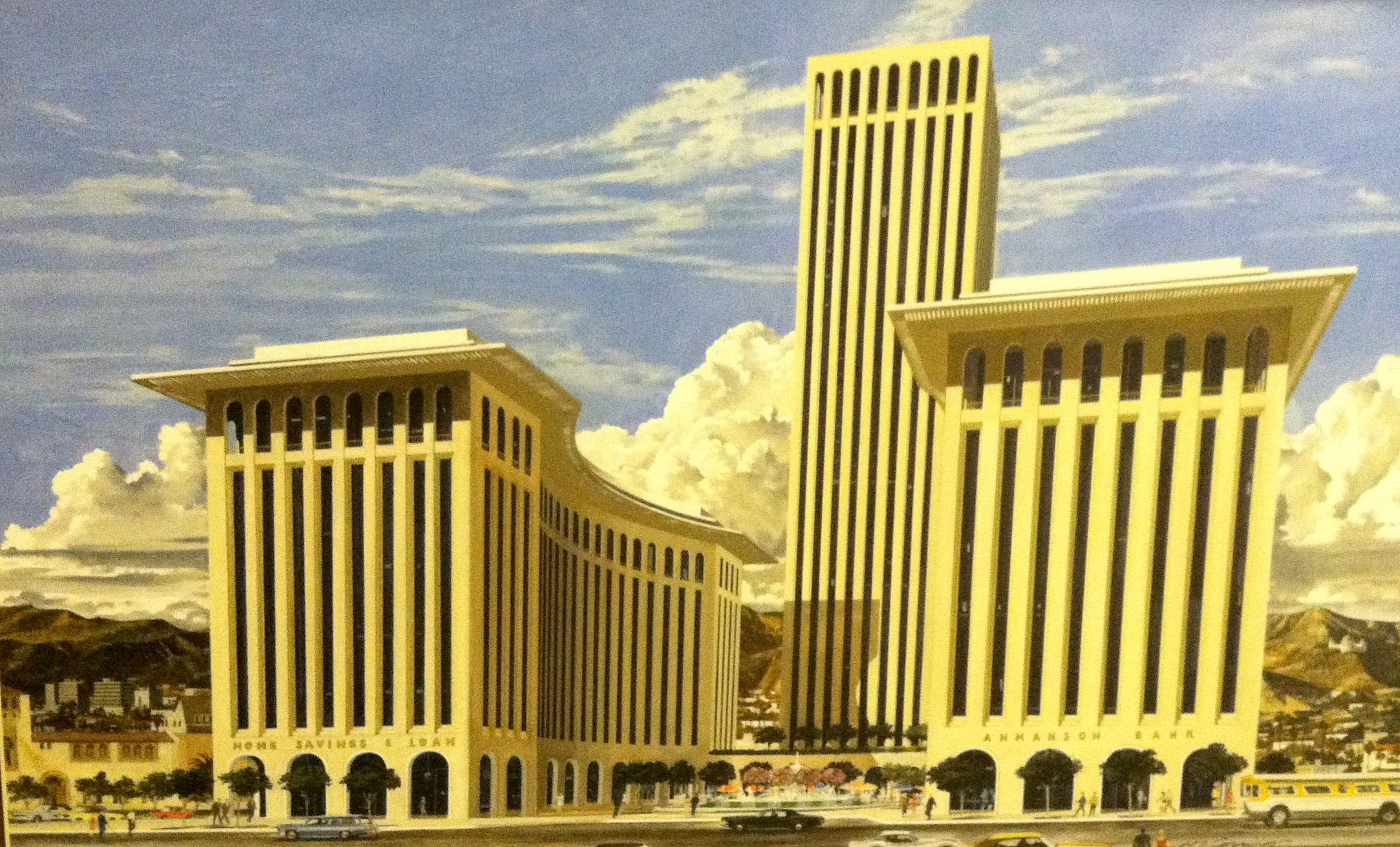 Edward Durrell Stone, Ahmanson Center color sketch with unrealized tower. Courtesy of the Ahmanson Foundation