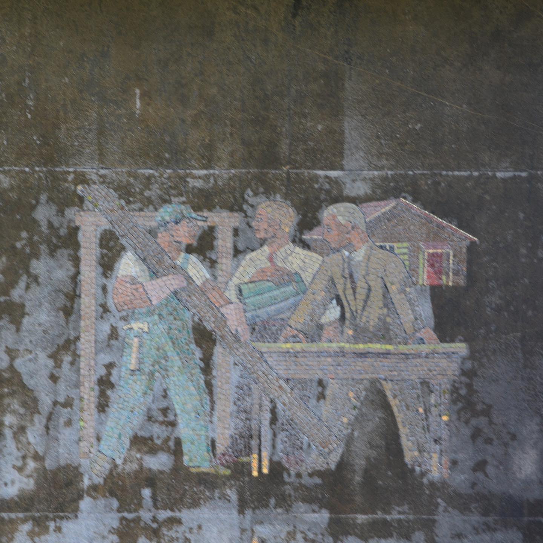 Tom Van Sant, mosaic for Compton Home Savings, 1958. Photograph of damage as of 2019.